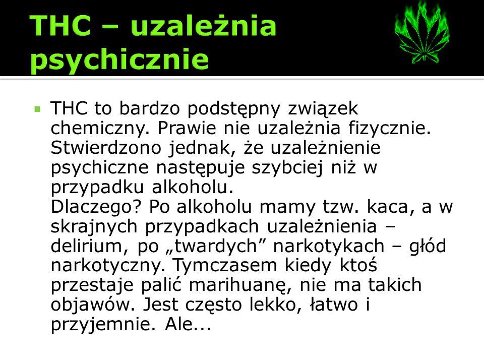 THC to bardzo podstępny związek chemiczny. Prawie nie uzależnia fizycznie. Stwierdzono jednak, że uzależnienie psychiczne następuje szybciej niż w prz
