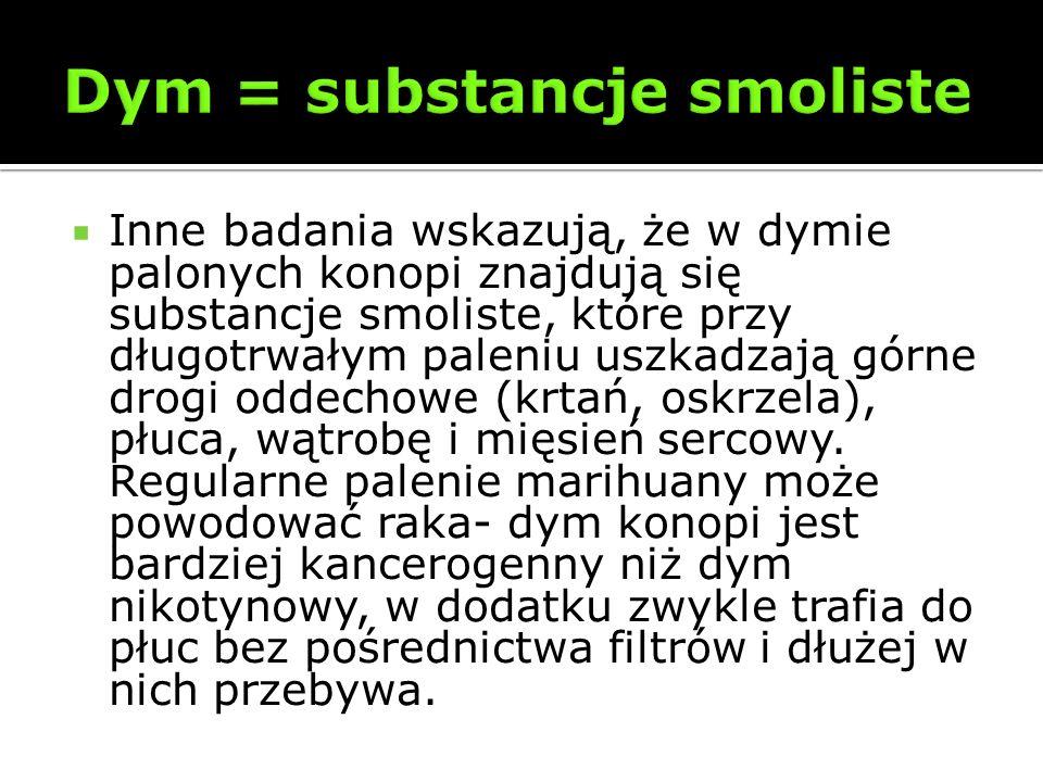 Inne badania wskazują, że w dymie palonych konopi znajdują się substancje smoliste, które przy długotrwałym paleniu uszkadzają górne drogi oddechowe (