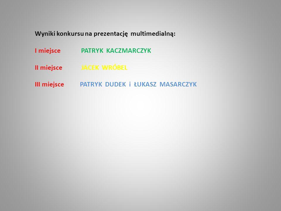 Wyniki konkursu na prezentację multimedialną: I miejsce PATRYK KACZMARCZYK II miejsce JACEK WRÓBEL III miejsce PATRYK DUDEK i ŁUKASZ MASARCZYK
