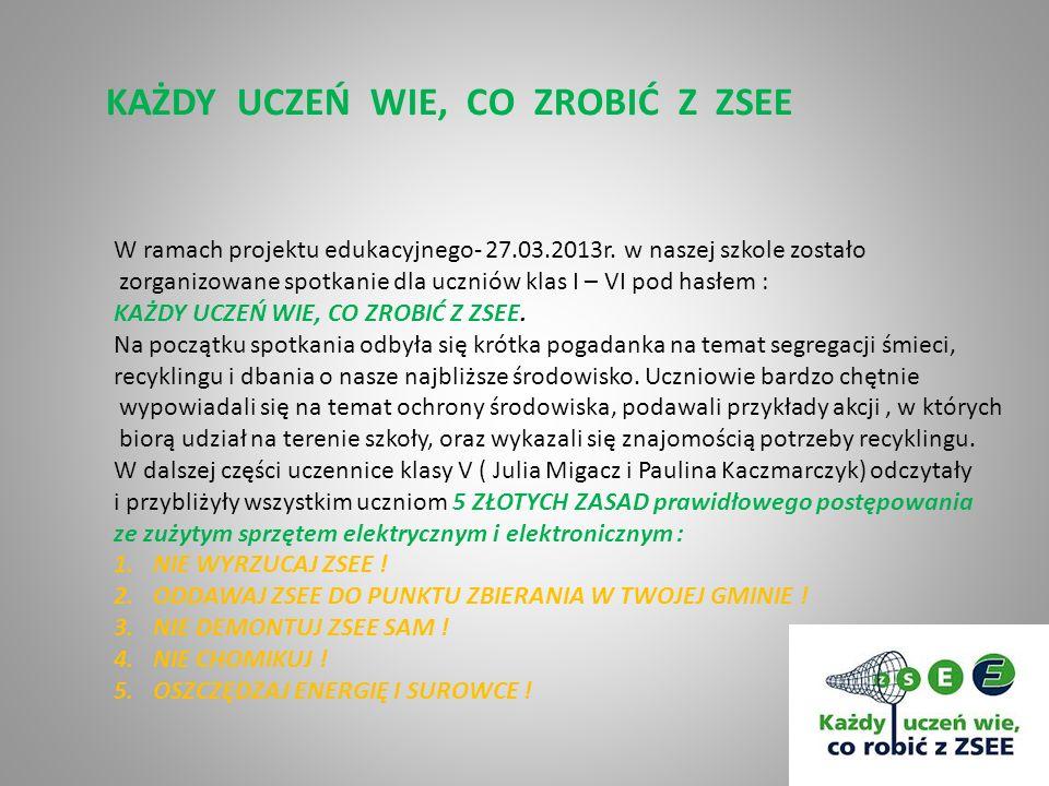 KAŻDY UCZEŃ WIE, CO ZROBIĆ Z ZSEE W ramach projektu edukacyjnego- 27.03.2013r. w naszej szkole zostało zorganizowane spotkanie dla uczniów klas I – VI