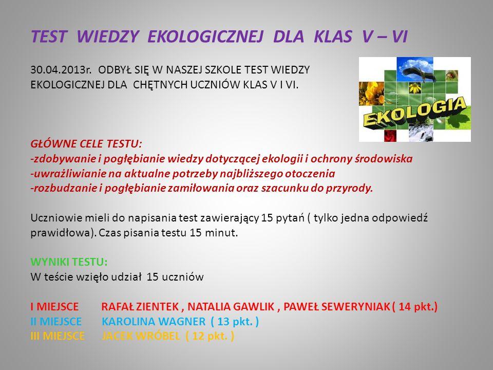 TEST WIEDZY EKOLOGICZNEJ DLA KLAS V – VI 30.04.2013r.