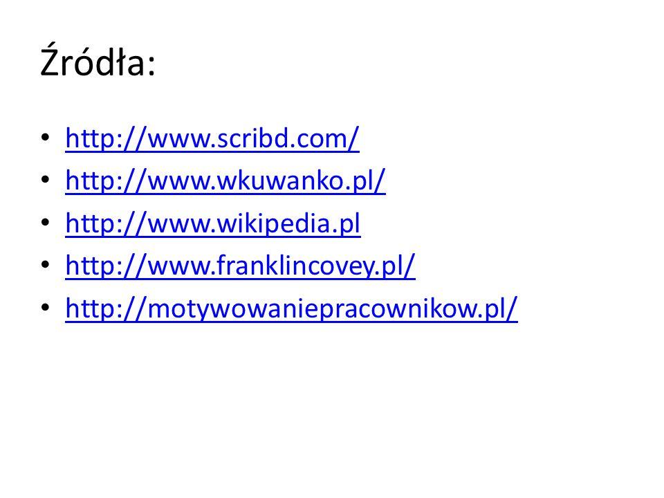 Źródła: http://www.scribd.com/ http://www.wkuwanko.pl/ http://www.wikipedia.pl http://www.franklincovey.pl/ http://motywowaniepracownikow.pl/