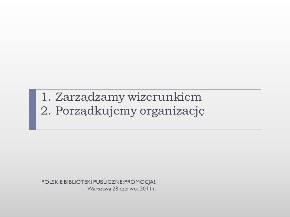 1. Zarządzamy wizerunkiem 2. Porządkujemy organizację POLSKIE BIBLIOTEKI PUBLICZNE: PROMOCJA!, Warszawa 28 czerwca 2011 r.