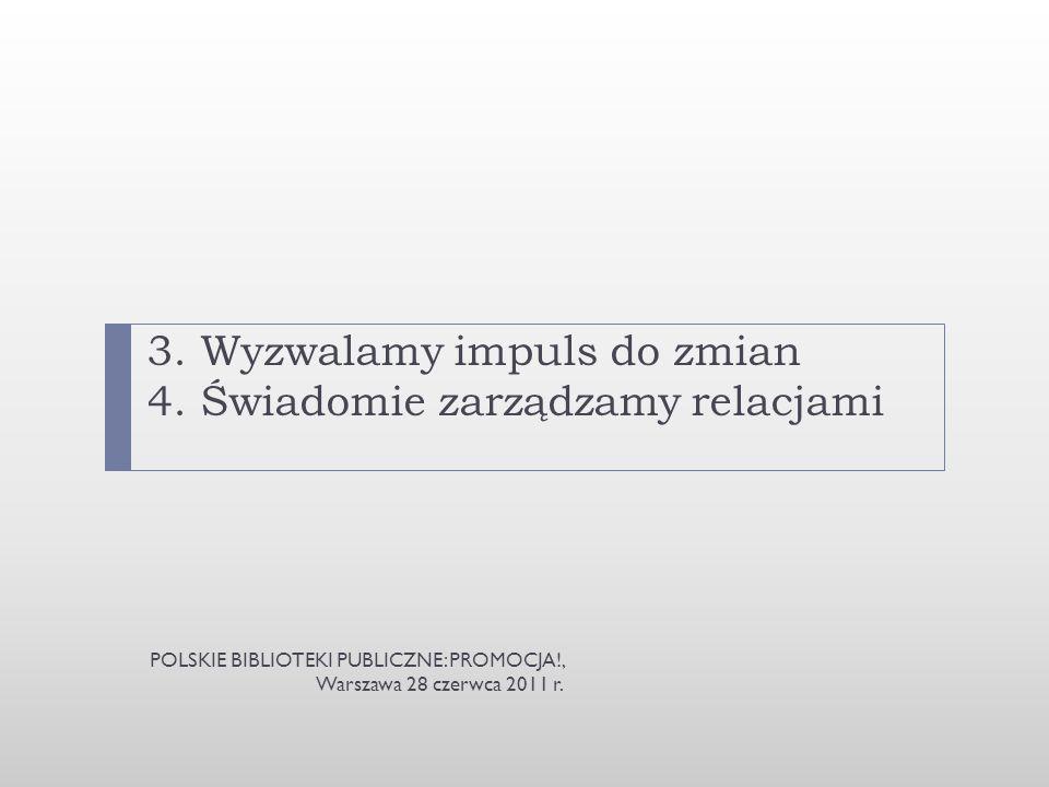 3. Wyzwalamy impuls do zmian 4. Świadomie zarządzamy relacjami POLSKIE BIBLIOTEKI PUBLICZNE: PROMOCJA!, Warszawa 28 czerwca 2011 r.