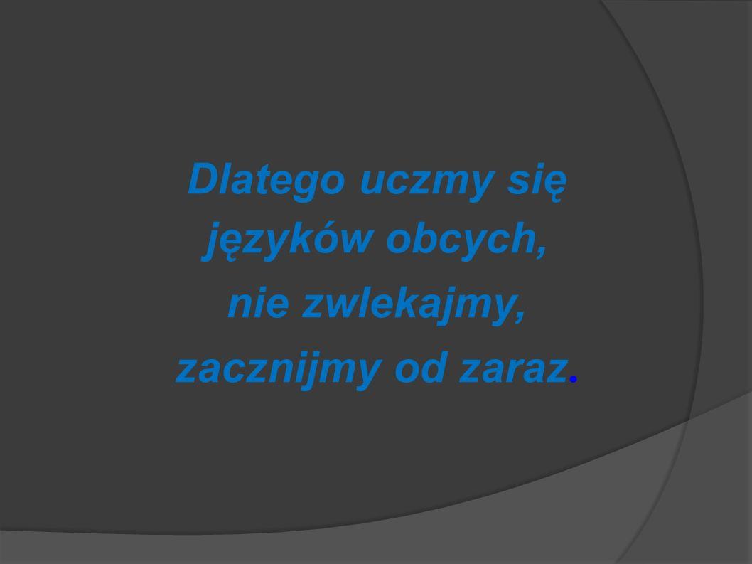 Dlatego uczmy się języków obcych, nie zwlekajmy, zacznijmy od zaraz.