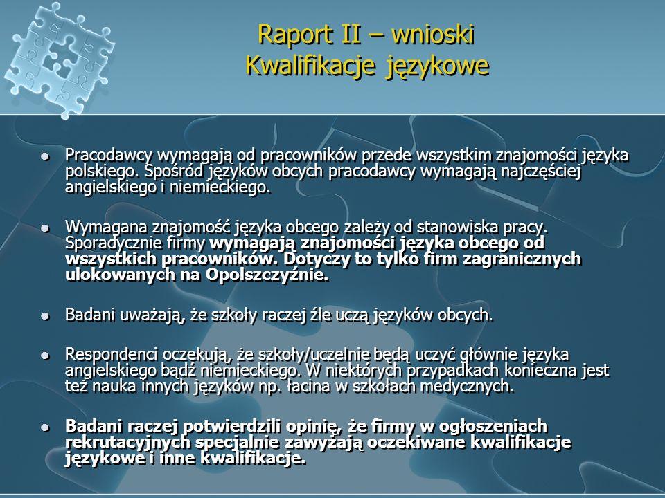 Raport II – wnioski Kwalifikacje językowe Pracodawcy wymagają od pracowników przede wszystkim znajomości języka polskiego. Spośród języków obcych prac