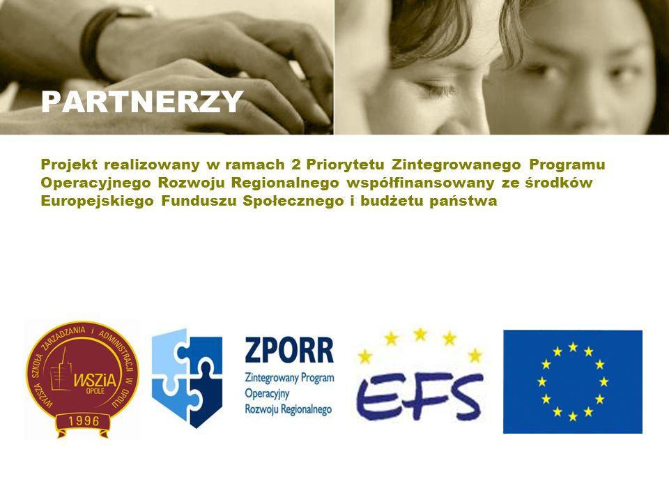 PARTNERZY Projekt realizowany w ramach 2 Priorytetu Zintegrowanego Programu Operacyjnego Rozwoju Regionalnego współfinansowany ze środków Europejskieg