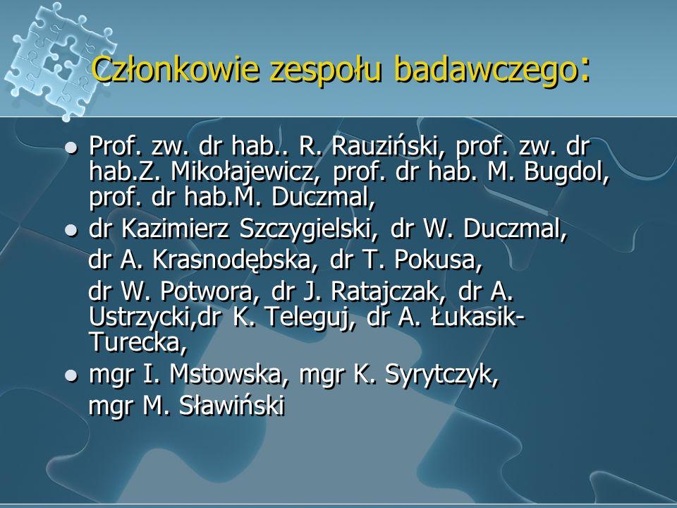 Członkowie zespołu badawczego : Prof. zw. dr hab.. R. Rauziński, prof. zw. dr hab.Z. Mikołajewicz, prof. dr hab. M. Bugdol, prof. dr hab.M. Duczmal, d