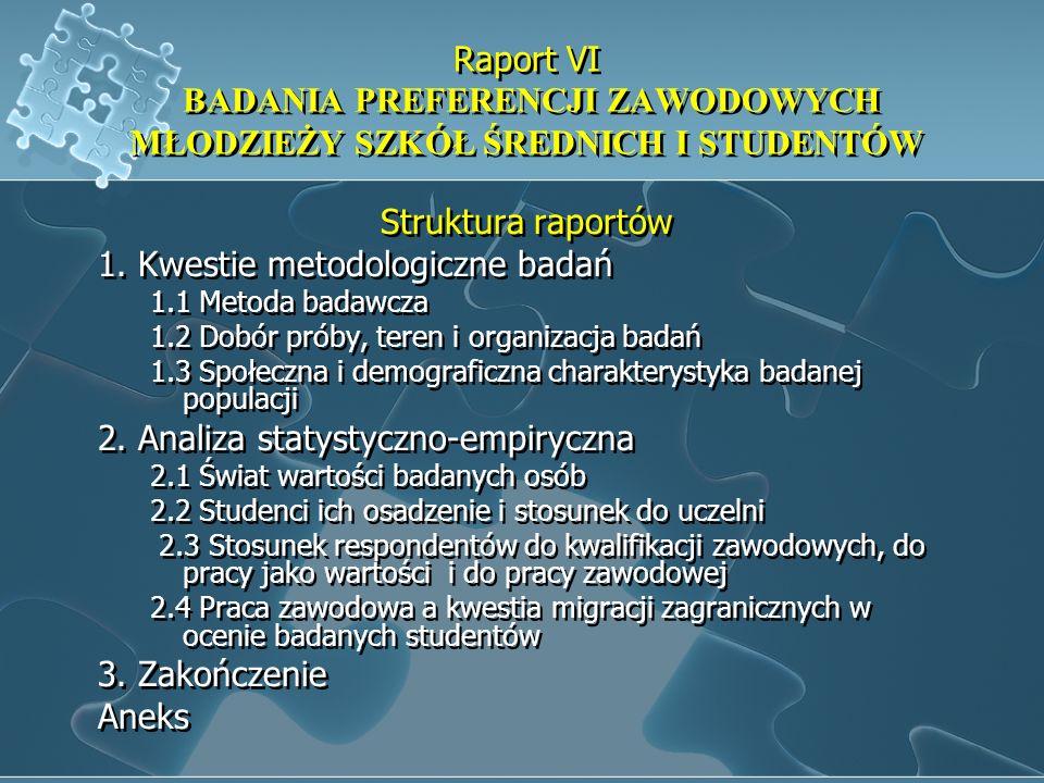 Raport VI BADANIA PREFERENCJI ZAWODOWYCH MŁODZIEŻY SZKÓŁ ŚREDNICH I STUDENTÓW Struktura raportów 1. Kwestie metodologiczne badań 1.1 Metoda badawcza 1