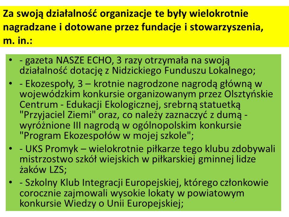 Za swoją działalność organizacje te były wielokrotnie nagradzane i dotowane przez fundacje i stowarzyszenia, m.
