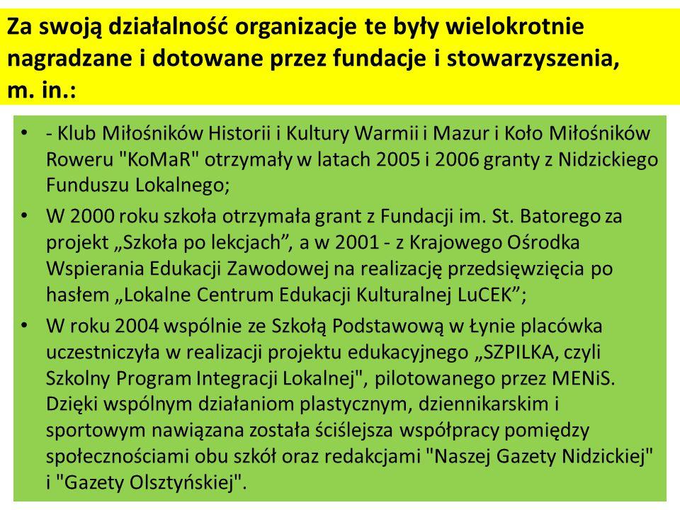- Klub Miłośników Historii i Kultury Warmii i Mazur i Koło Miłośników Roweru KoMaR otrzymały w latach 2005 i 2006 granty z Nidzickiego Funduszu Lokalnego; W 2000 roku szkoła otrzymała grant z Fundacji im.