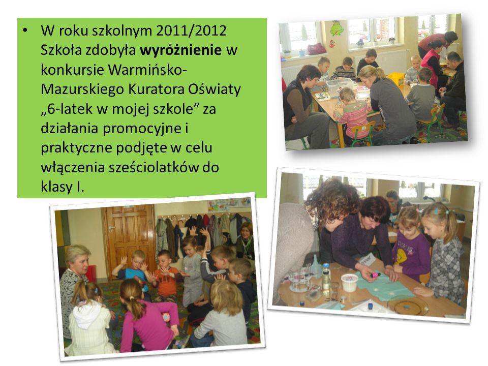W roku szkolnym 2011/2012 Szkoła zdobyła wyróżnienie w konkursie Warmińsko- Mazurskiego Kuratora Oświaty 6-latek w mojej szkole za działania promocyjne i praktyczne podjęte w celu włączenia sześciolatków do klasy I.