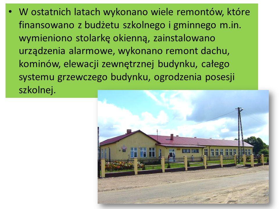 W ostatnich latach wykonano wiele remontów, które finansowano z budżetu szkolnego i gminnego m.in.