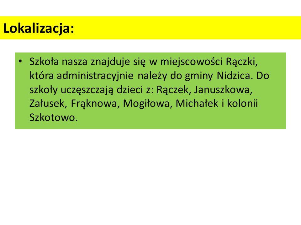 Lokalizacja: Szkoła nasza znajduje się w miejscowości Rączki, która administracyjnie należy do gminy Nidzica.