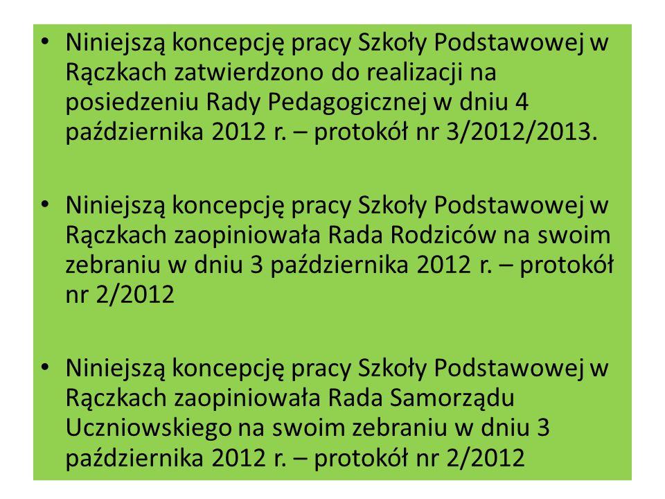 Niniejszą koncepcję pracy Szkoły Podstawowej w Rączkach zatwierdzono do realizacji na posiedzeniu Rady Pedagogicznej w dniu 4 października 2012 r.