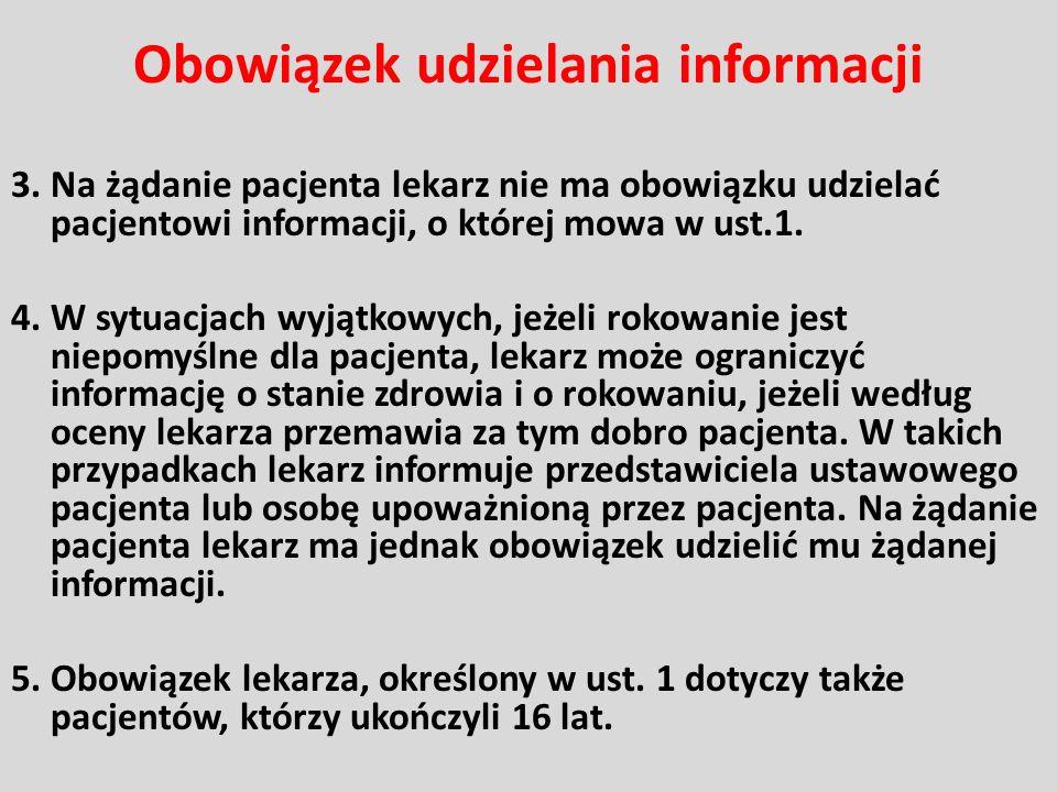 Obowiązek udzielania informacji 3. Na żądanie pacjenta lekarz nie ma obowiązku udzielać pacjentowi informacji, o której mowa w ust.1. 4. W sytuacjach
