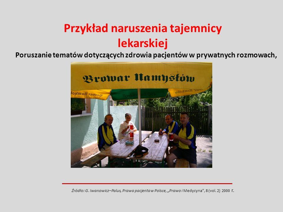 Poruszanie tematów dotyczących zdrowia pacjentów w prywatnych rozmowach, Źródło: G. Iwanowicz–Palus, Prawa pacjenta w Polsce, Prawo i Medycyna, 8 (vol