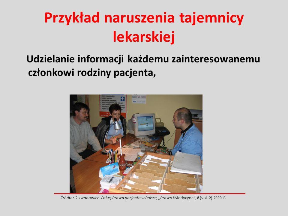 Przykład naruszenia tajemnicy lekarskiej Udzielanie informacji każdemu zainteresowanemu członkowi rodziny pacjenta, Źródło: G. Iwanowicz–Palus, Prawa
