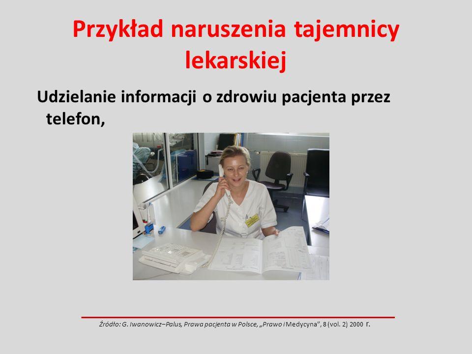Przykład naruszenia tajemnicy lekarskiej Udzielanie informacji o zdrowiu pacjenta przez telefon, Źródło: G. Iwanowicz–Palus, Prawa pacjenta w Polsce,