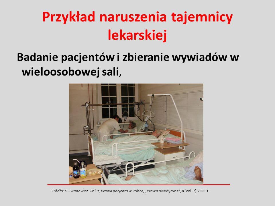 Przykład naruszenia tajemnicy lekarskiej Badanie pacjentów i zbieranie wywiadów w wieloosobowej sali, Źródło: G. Iwanowicz–Palus, Prawa pacjenta w Pol