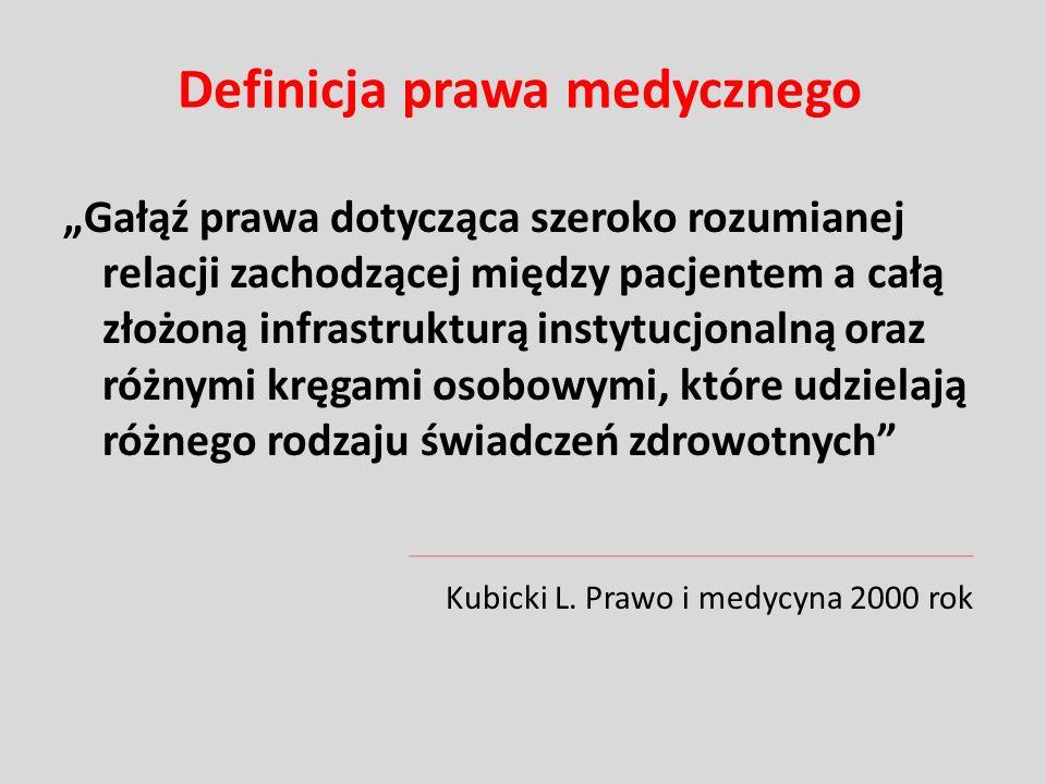 Definicja prawa medycznego Zespół norm prawnych ustalonych po to, by za pomocą precyzyjnych instytucji chronić interesy chorych i lekarzy, określając ich prawa i obowiązki we wzajemnych stosunkach Dzienis P.