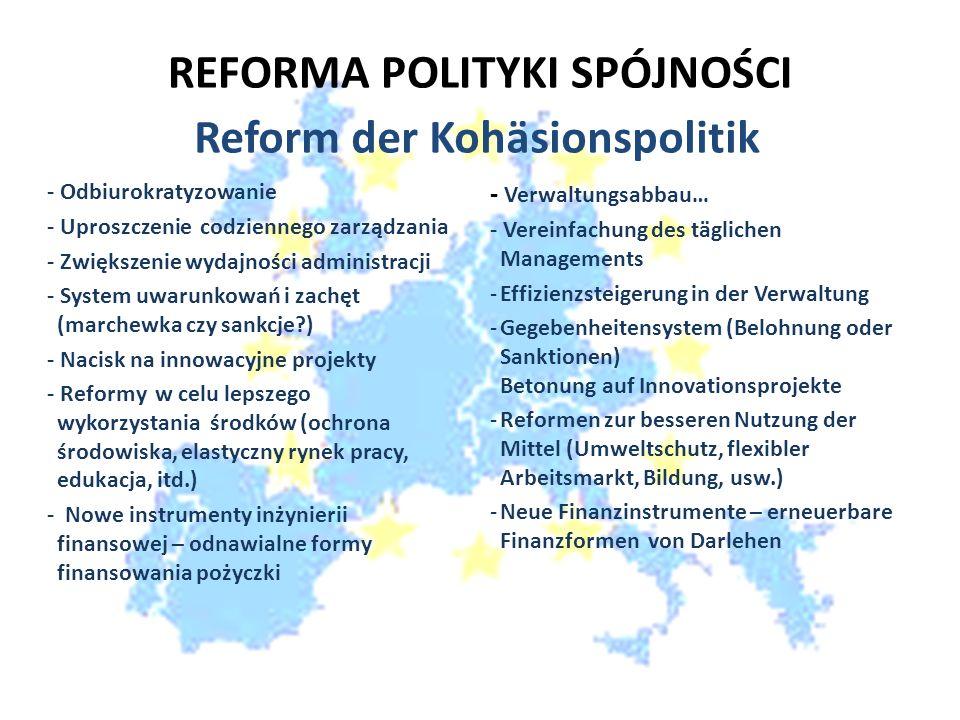 REFORMA POLITYKI SPÓJNOŚCI - Odbiurokratyzowanie - Uproszczenie codziennego zarządzania - Zwiększenie wydajności administracji - System uwarunkowań i zachęt (marchewka czy sankcje?) - Nacisk na innowacyjne projekty - Reformy w celu lepszego wykorzystania środków (ochrona środowiska, elastyczny rynek pracy, edukacja, itd.) - Nowe instrumenty inżynierii finansowej – odnawialne formy finansowania pożyczki - Verwaltungsabbau… - Vereinfachung des täglichen Managements -Effizienzsteigerung in der Verwaltung -Gegebenheitensystem (Belohnung oder Sanktionen) Betonung auf Innovationsprojekte -Reformen zur besseren Nutzung der Mittel (Umweltschutz, flexibler Arbeitsmarkt, Bildung, usw.) -Neue Finanzinstrumente – erneuerbare Finanzformen von Darlehen Reform der Kohäsionspolitik