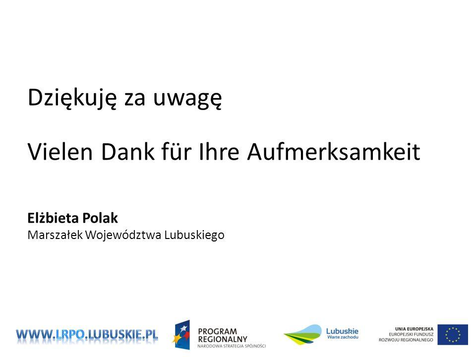 Dziękuję za uwagę Vielen Dank für Ihre Aufmerksamkeit Elżbieta Polak Marszałek Województwa Lubuskiego
