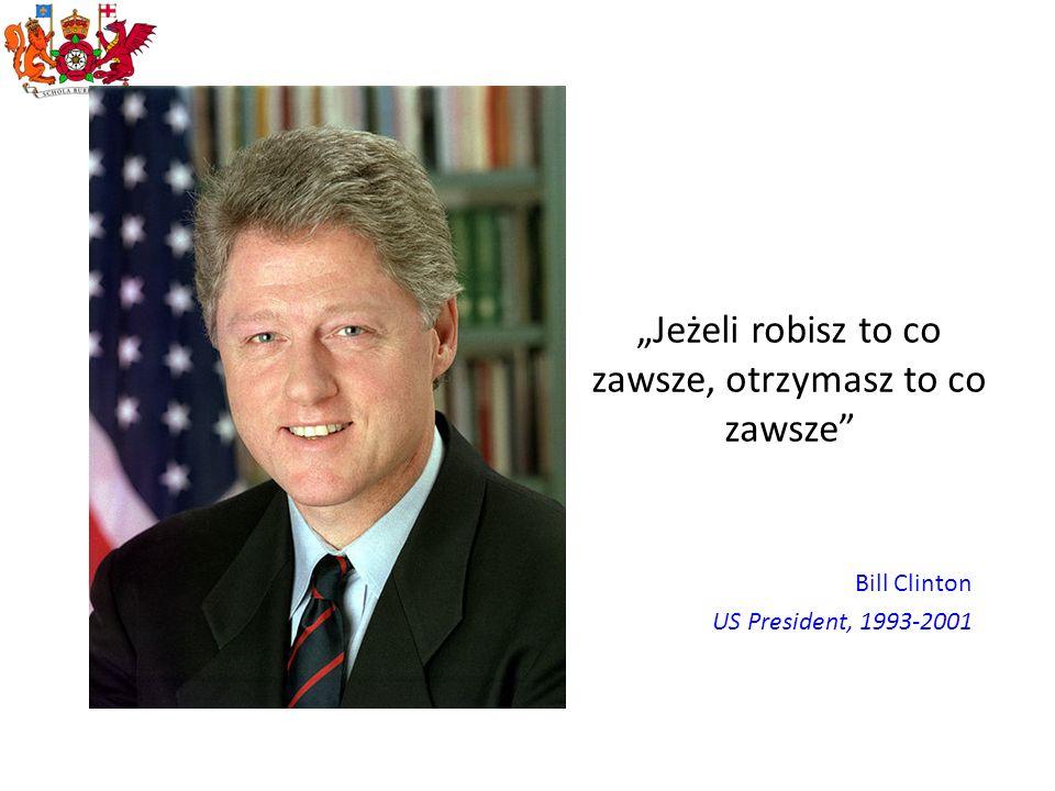 Jeżeli robisz to co zawsze, otrzymasz to co zawsze Bill Clinton US President, 1993-2001