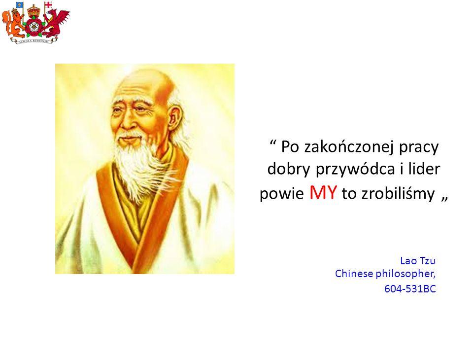 Po zakończonej pracy dobry przywódca i lider powie MY to zrobiliśmy Lao Tzu Chinese philosopher, 604-531BC