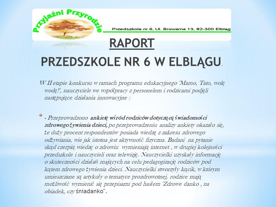RAPORT PRZEDSZKOLE NR 6 W ELBLĄGU. W II etapie konkursu w ramach programu edukacyjnego