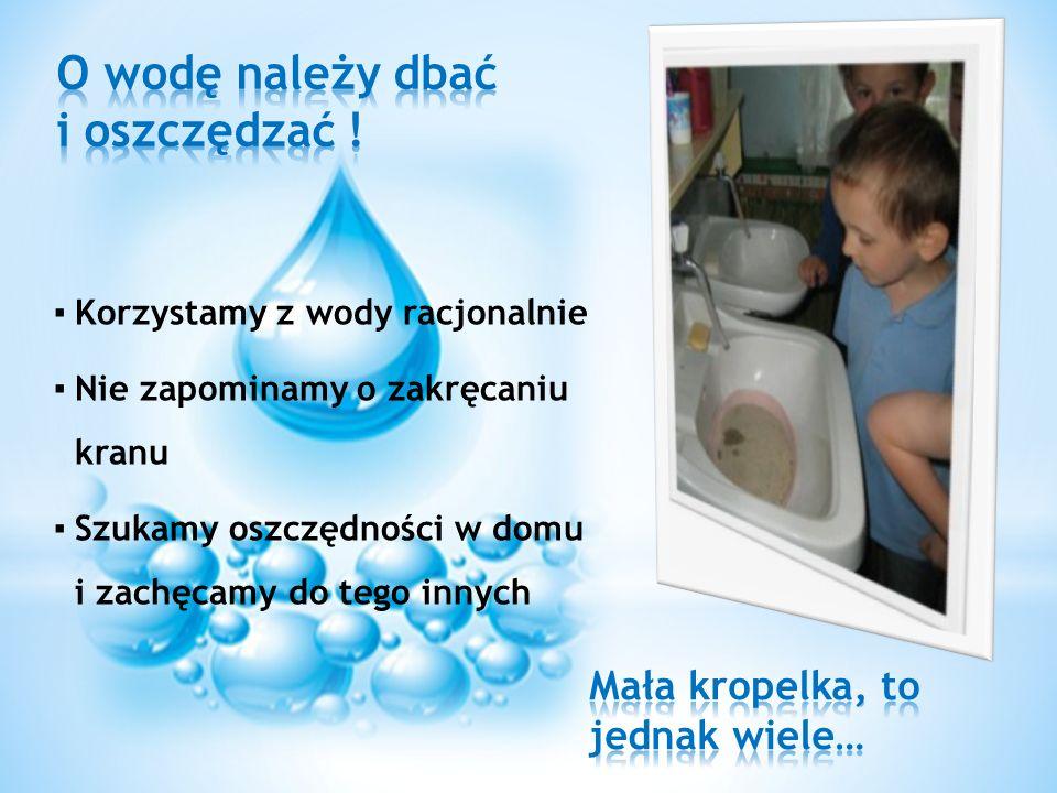 Korzystamy z wody racjonalnie Nie zapominamy o zakręcaniu kranu Szukamy oszczędności w domu i zachęcamy do tego innych