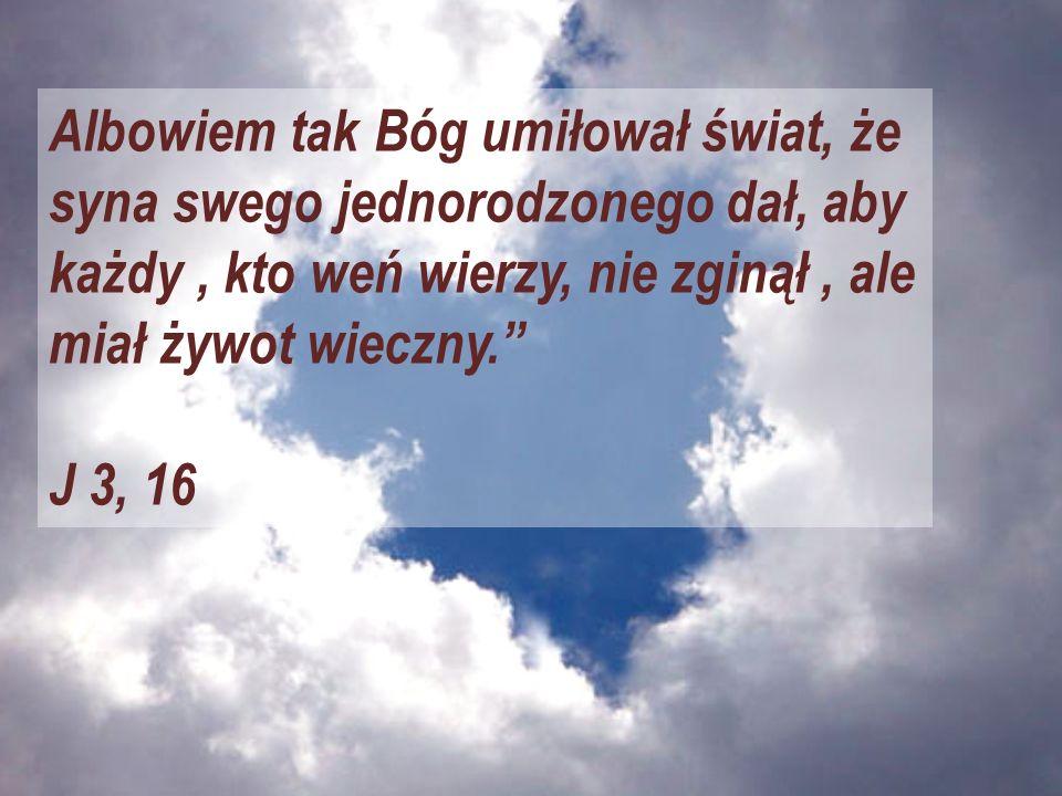 Albowiem tak Bóg umiłował świat, że syna swego jednorodzonego dał, aby każdy, kto weń wierzy, nie zginął, ale miał żywot wieczny. J 3, 16