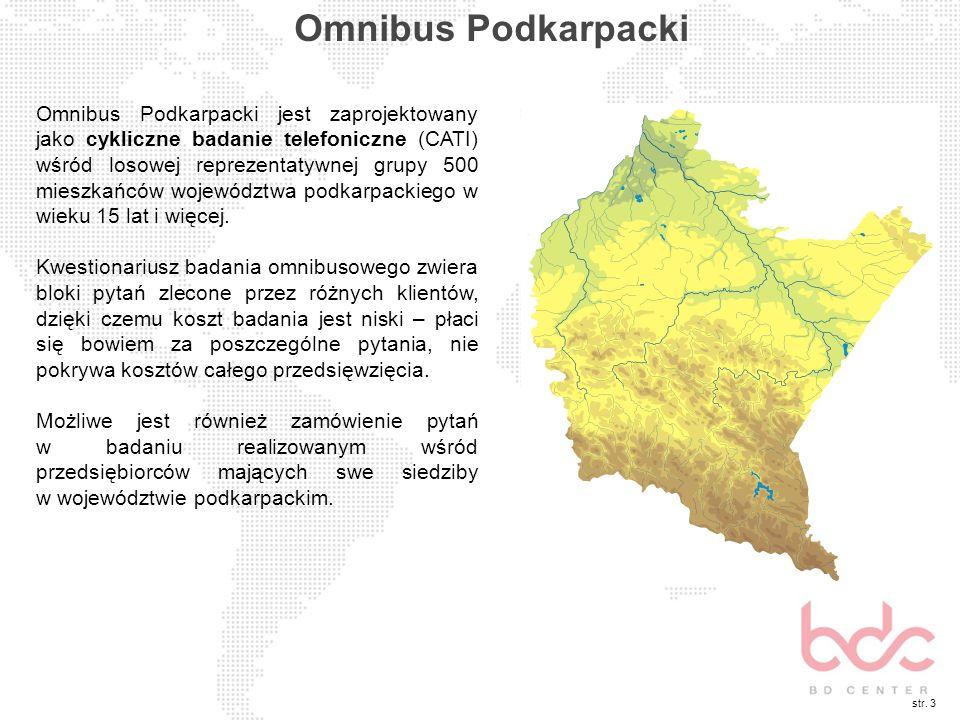 str. 3 Omnibus Podkarpacki Omnibus Podkarpacki jest zaprojektowany jako cykliczne badanie telefoniczne (CATI) wśród losowej reprezentatywnej grupy 500