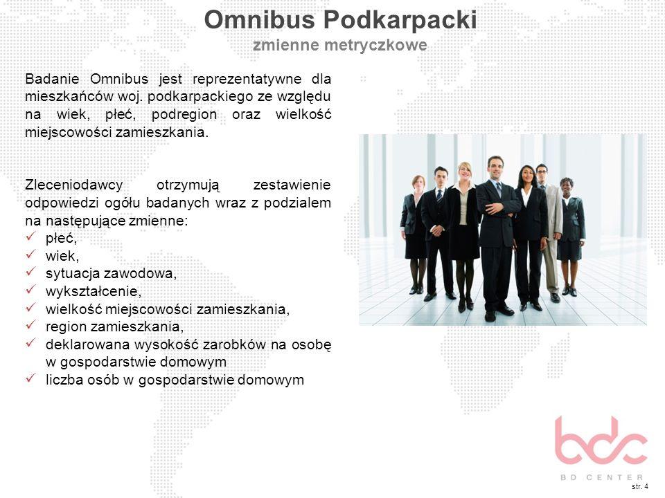 str. 4 Omnibus Podkarpacki zmienne metryczkowe Badanie Omnibus jest reprezentatywne dla mieszkańców woj. podkarpackiego ze względu na wiek, płeć, podr