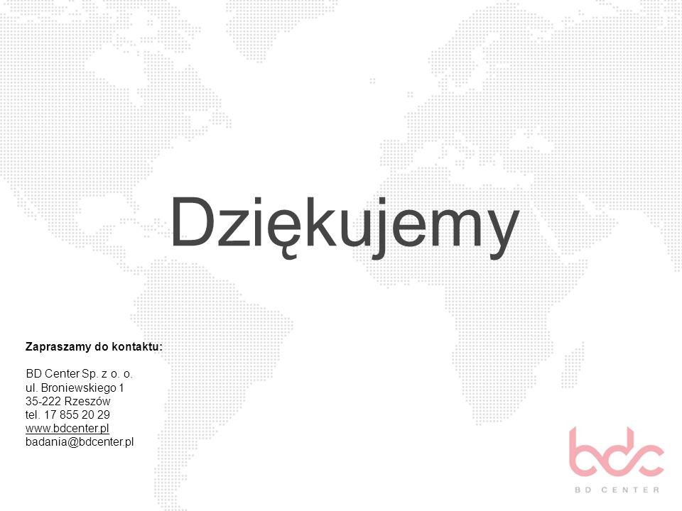Dziękujemy Zapraszamy do kontaktu: BD Center Sp. z o. o. ul. Broniewskiego 1 35-222 Rzeszów tel. 17 855 20 29 www.bdcenter.pl www.bdcenter.pl badania@