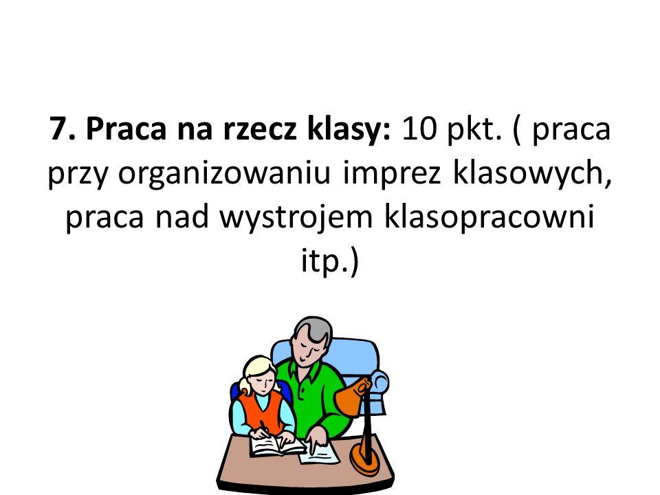 7.Praca na rzecz klasy: 10 pkt.