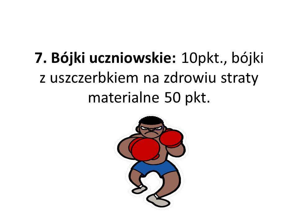 7. Bójki uczniowskie: 10pkt., bójki z uszczerbkiem na zdrowiu straty materialne 50 pkt.