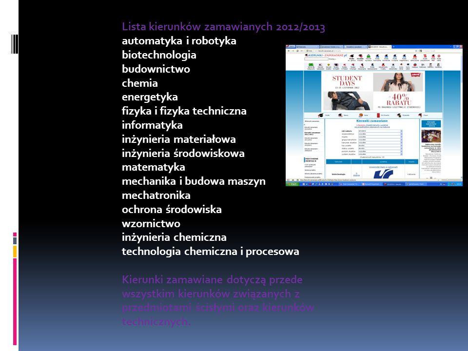 Lista kierunków zamawianych 2012/2013 automatyka i robotyka biotechnologia budownictwo chemia energetyka fizyka i fizyka techniczna informatyka inżyni