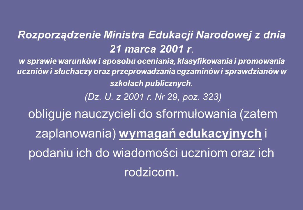 Rozporządzenie Ministra Edukacji Narodowej z dnia 21 marca 2001 r.