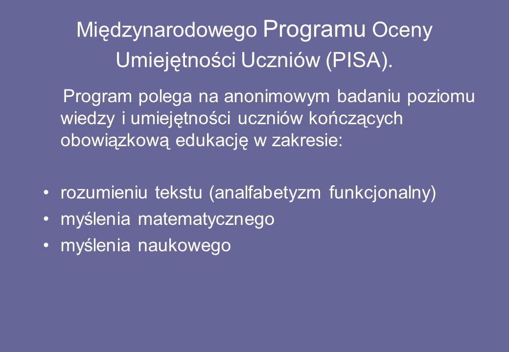 Międzynarodowego Programu Oceny Umiejętności Uczniów (PISA).