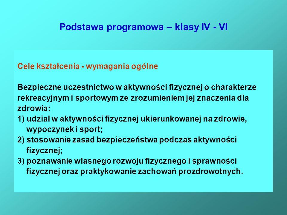 Podstawa programowa – klasy IV - VI Cele kształcenia - wymagania ogólne Bezpieczne uczestnictwo w aktywności fizycznej o charakterze rekreacyjnym i sp