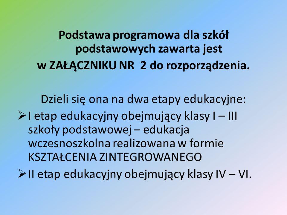 Podstawa programowa dla szkół podstawowych zawarta jest w ZAŁĄCZNIKU NR 2 do rozporządzenia. Dzieli się ona na dwa etapy edukacyjne: I etap edukacyjny