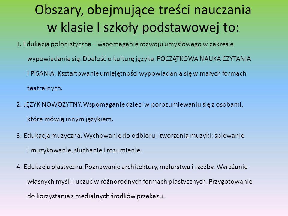 Obszary, obejmujące treści nauczania w klasie I szkoły podstawowej to: 1. Edukacja polonistyczna – wspomaganie rozwoju umysłowego w zakresie wypowiada