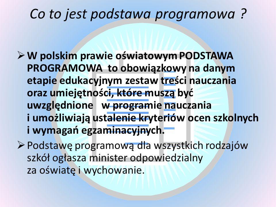 Co to jest podstawa programowa ? W polskim prawie oświatowym PODSTAWA PROGRAMOWA to obowiązkowy na danym etapie edukacyjnym zestaw treści nauczania or
