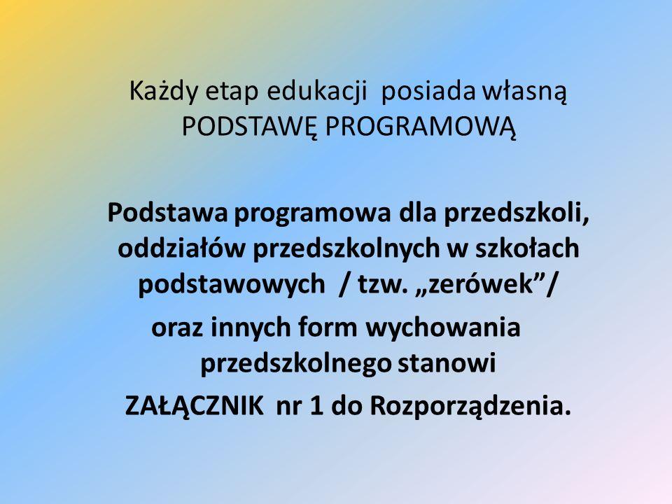Każdy etap edukacji posiada własną PODSTAWĘ PROGRAMOWĄ Podstawa programowa dla przedszkoli, oddziałów przedszkolnych w szkołach podstawowych / tzw. ze