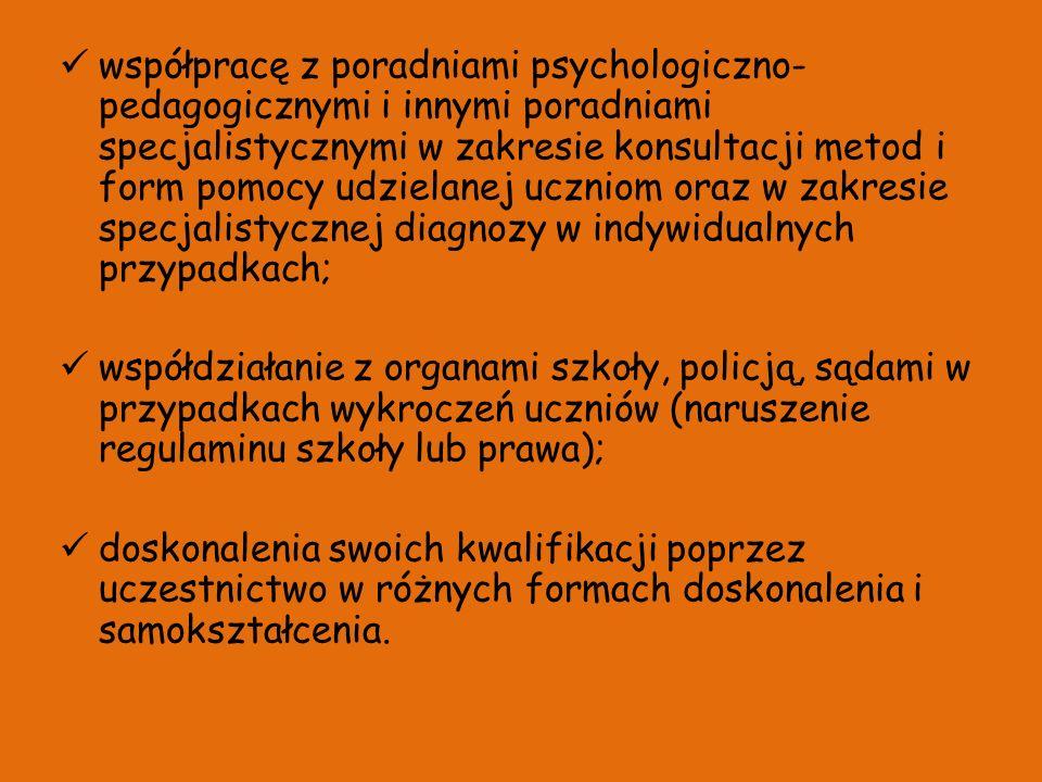 współpracę z poradniami psychologiczno- pedagogicznymi i innymi poradniami specjalistycznymi w zakresie konsultacji metod i form pomocy udzielanej ucz