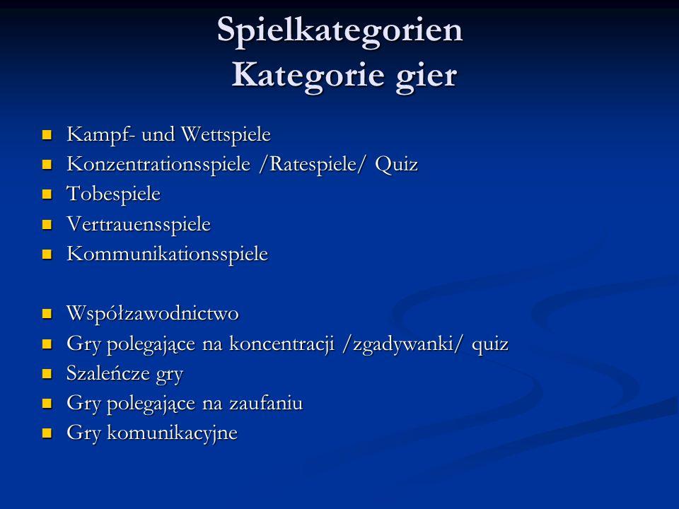 Spielkategorien Kategorie gier Kampf- und Wettspiele Kampf- und Wettspiele Konzentrationsspiele /Ratespiele/ Quiz Konzentrationsspiele /Ratespiele/ Qu