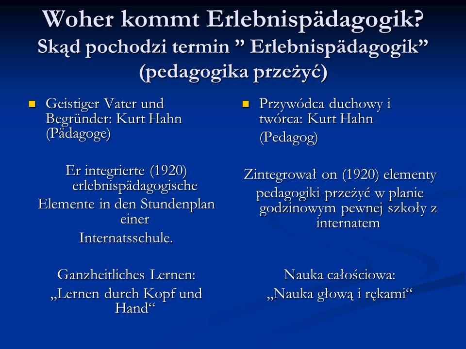 Woher kommt Erlebnispädagogik? Skąd pochodzi termin Erlebnispädagogik (pedagogika przeżyć) Geistiger Vater und Begründer: Kurt Hahn (Pädagoge) Geistig