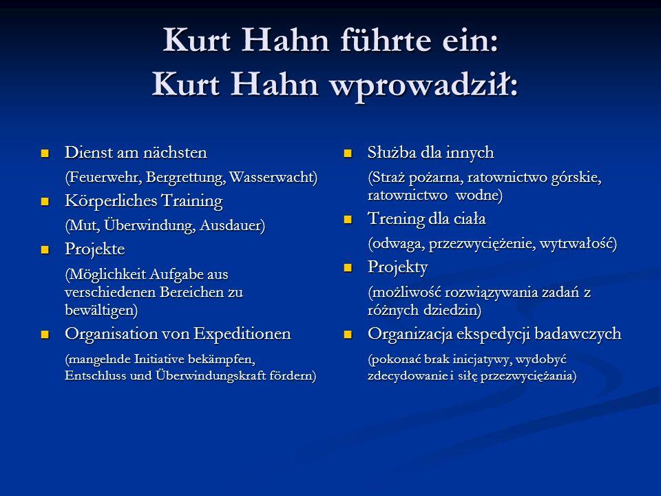 Kurt Hahn führte ein: Kurt Hahn wprowadził: Dienst am nächsten Dienst am nächsten (Feuerwehr, Bergrettung, Wasserwacht) Körperliches Training Körperli