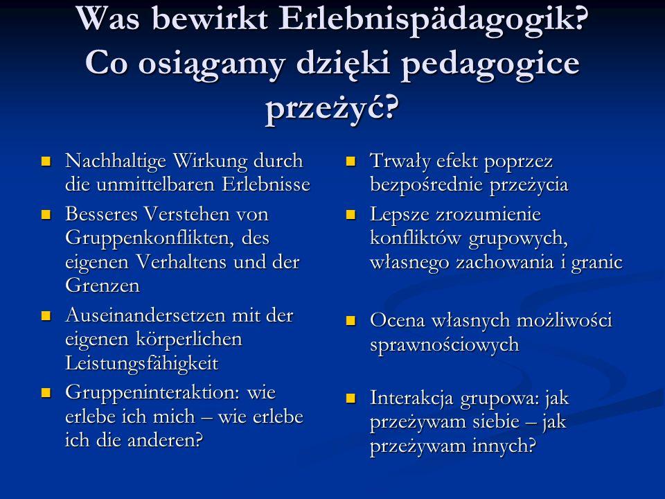 Was bewirkt Erlebnispädagogik. Co osiągamy dzięki pedagogice przeżyć.